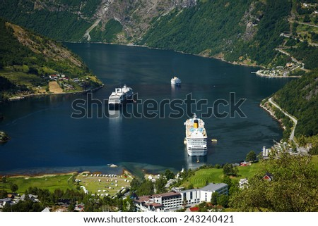 Geiranger village view from the Flydalsjuvet in Norway - stock photo