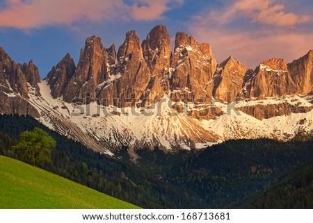 Geisler or Odle dolomites mountain peaks in Santa Maddalena (Sankt Magdalena) in the Val di Funes in Italy (Italia) - stock photo
