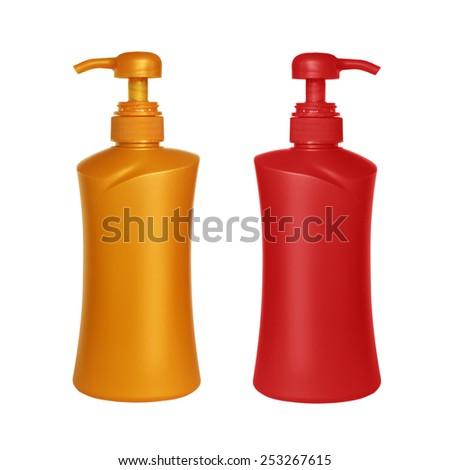 Gel, Foam Or Liquid Soap Dispenser Pump Plastic pin on white background. - stock photo