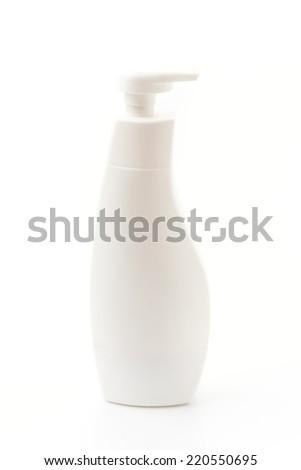 Gel, Foam Or Liquid Soap Plastic Bottle White. - stock photo