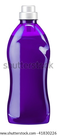 Gel is a water softener for washing machines. Photography of violet plastic bottle with liquid laundry detergent, cleaning agent, bleach or fabric softener - isolated on white background - stock photo