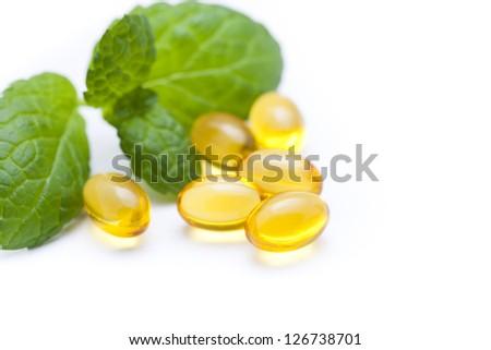 Gel vitamin capsules - stock photo