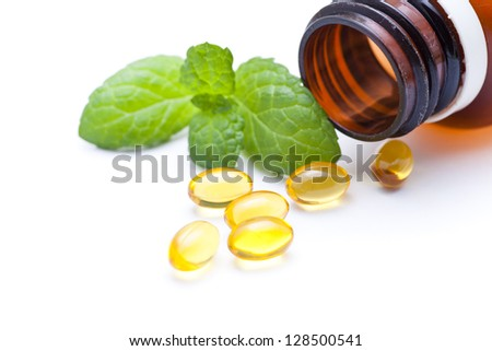 Gel vitamin capsules - stock photo