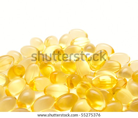 Gelatinous capsules with the cod-liver oil-omega3 - stock photo