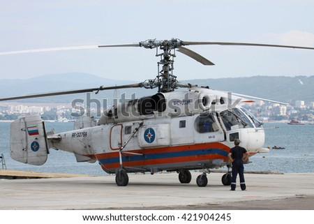 Gelendzhik, Russia - September 9, 2010: Ministry of Emergency Situations of Russia Kamov Ka-32 rescue helicopter is being prepared for takeoff