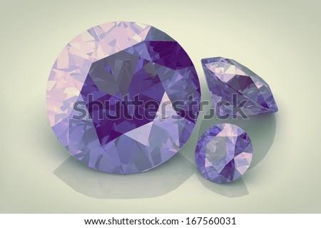 Gem amethyst on the white background - stock photo