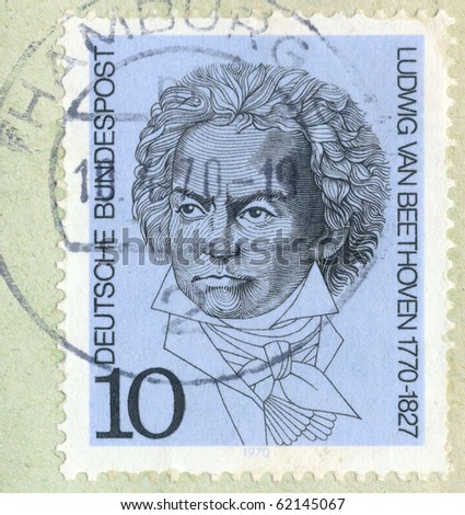 """GEMANY - CIRCA 1970 A vintage German used postage stamp showing portrait of German composer and pianist Ludwig van Beethoven with inscription """"Ludwig van Beethoven 1770-1827"""", series, circa 1970 - stock photo"""