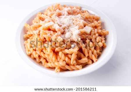 gemelli pasta with a light tomato sauce for a vegetarian meal