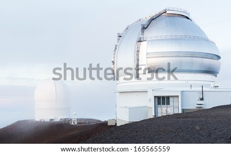 Gemini and the Canada-France-Hawaii Observatories at the peak of Mauna Kea, a dormant volcano on The Big Island, Hawaii.