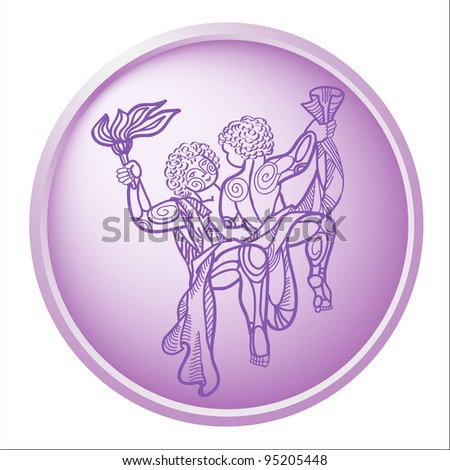 gemini, button with sign of the zodiac - stock photo
