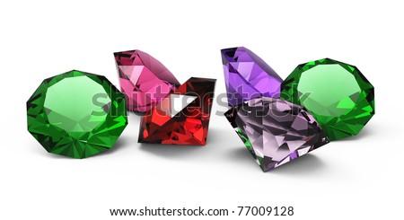 gems isolated - stock photo