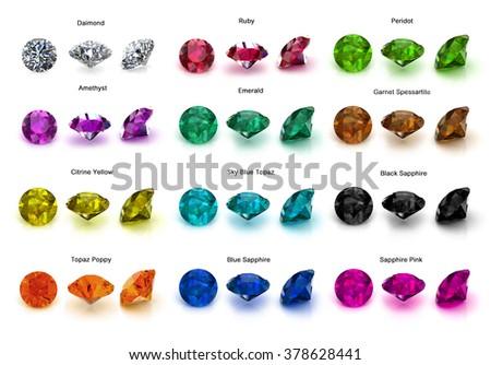 Gems set full color on white - stock photo