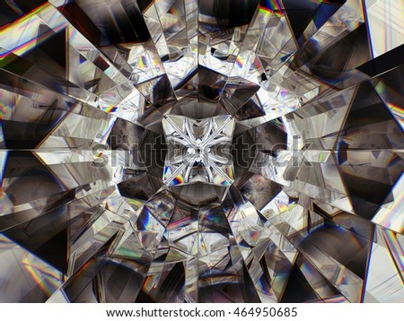 Gemstone structure extreme closeup. top view of round diamond 3D illustration