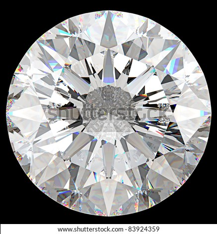 Gemstone: top view of round diamond isolated on black - stock photo