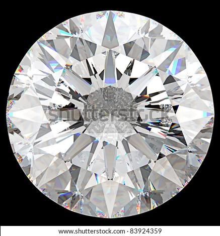 Gemstone: top view of round diamond isolated on black - stock photo