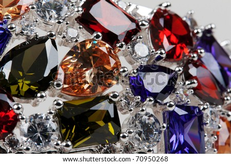 Gemstones close on a light background - stock photo