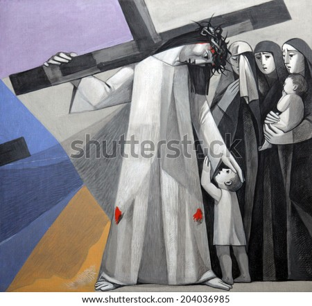 GEMUNDEN,GERMANY-JULY 18:8th Stations of the Cross,Jesus meets the daughters of Jerusalem,Church of the Holy Trinity on July 18,2013 in Bavarian village of Gemunden am Main in the Diocese of Wurzburg. - stock photo