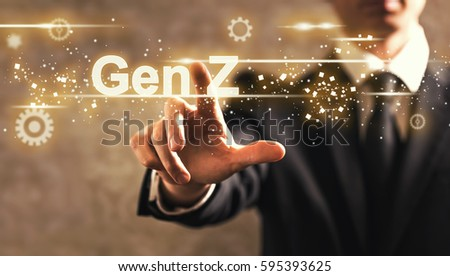 Gen Z text with businessman on dark vintage background
