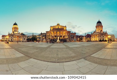 Gendarmenmarkt Berlin (Gendarmen Market) Panorama, famous landmark in Berlin, Germany at sunny day with blue sky - stock photo