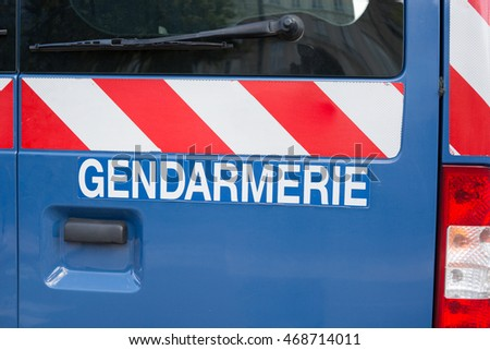 Gendarmerie sign, french police isolated on a car