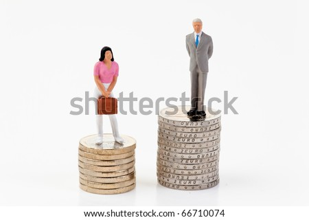 Gender differences in salaries between man and woman - stock photo