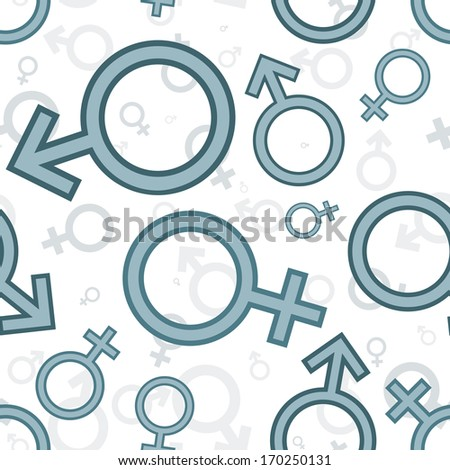 Gender icons. Seamless pattern - stock photo
