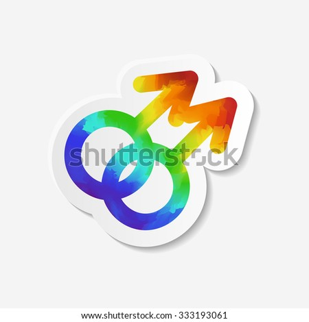 Gender identity icon. Gay symbol. Sticker with watercolor effect. Raster copy of vector file. - stock photo