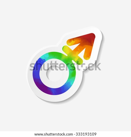 Gender identity icon. Transgender symbol. Sticker with watercolor effect. Raster copy of vector file. - stock photo