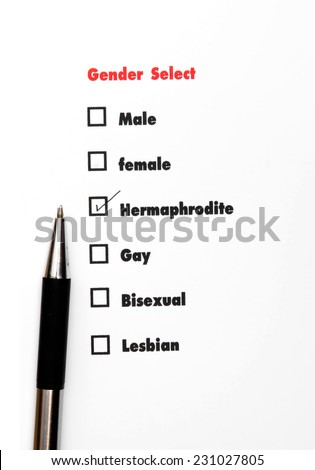 gender select choice,check hermaphrodite, sex concept