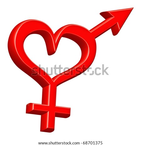 gender symbol heterosexual couple bound red heart love hearts happy valentines day love couple sweet valentine date hot romance gender symbol romance isolated on white engaged pair ready for marriage - stock photo
