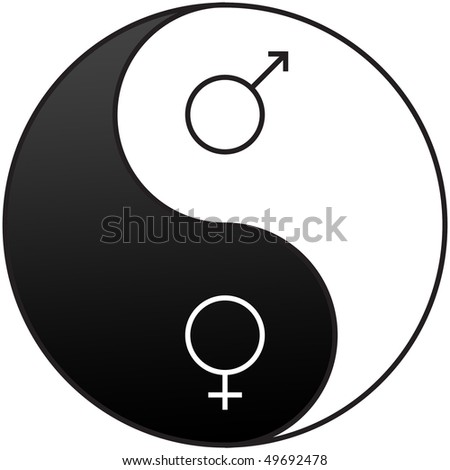 Gender symbols embedded on the Yin and Yang symbol used to demonstrate the opposite qualities of men and women - stock photo