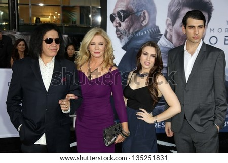 "Gene Simmons and Shannon Tweed with Nick Simmons and Sophie Simmons at the ""Oblivion"" Los Angeles Premiere, Dolby Theater, Hollywood, CA 04-10-13"