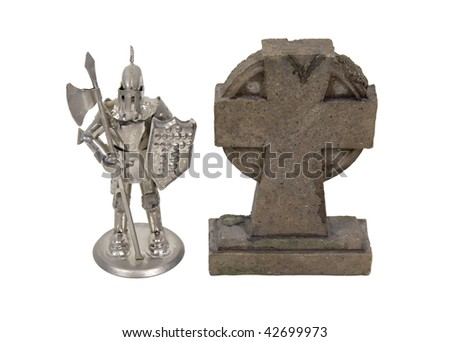 Geneology research shown by a medieval knight wearing armor standing next to a gravestone - path included