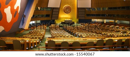 General Assembly ChamberUnited Nations Headquarters,New York City - stock photo