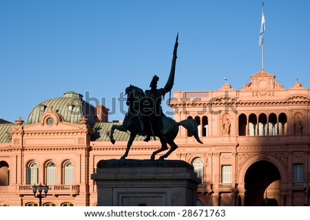 General Belgrano monument in front of Casa Rosada (pink house) Buenos Aires Argentina - stock photo