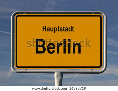 General city entry sign of Berlin, the capital of Germany - stock photo
