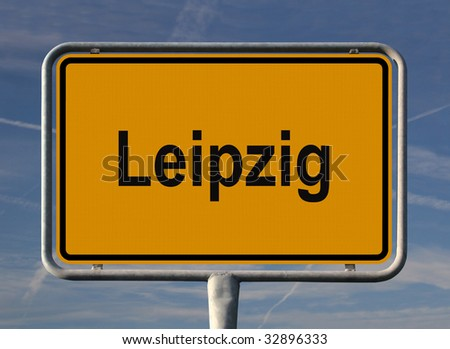 General city entry sign of Leipzig, Sachsen in Germany - stock photo