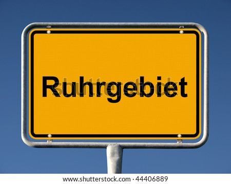 General city entry sign of Ruhrgebiet, germans biggest megalopolis - stock photo