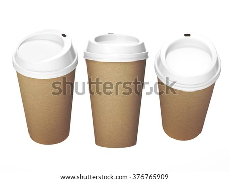 General  cup packaging  for coffee or tea with clipping path, template for your design or artwork - stock photo
