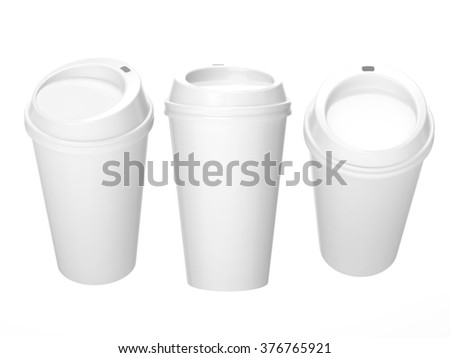 General  cup packaging  for coffee or tea with clipping path, template for your design or artwork