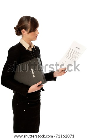 General director reading a contract for her partner - stock photo
