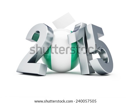 General elections in Nigeria 2015 on a white background  - stock photo
