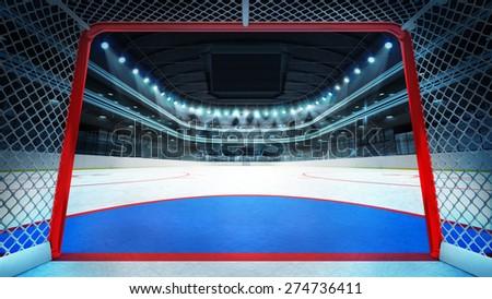 general hockey stadium view inside goal sport arena rendering my own design
