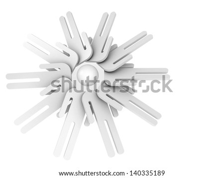 General idea or brainstorm concept. Round array of schematic white 3d people with one head - stock photo
