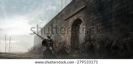 general leading his army in front fortress - stock photo