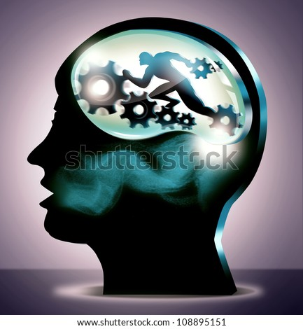 General Medical or Science and Career Concept illustration. 3d silhouette head of person in spotlight with running man and gears. - stock photo