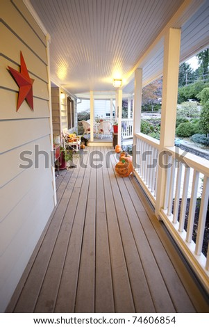 General overview of a porch in the fall - stock photo