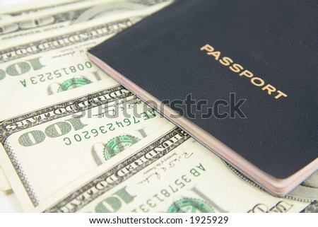 general passport with us dollars - stock photo