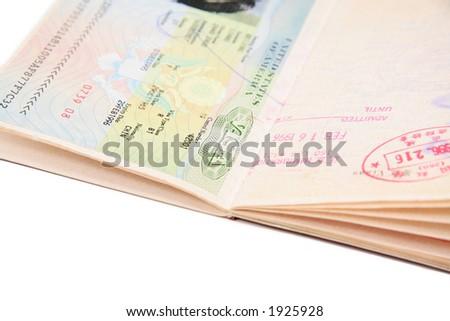 general passport with us VISA - stock photo