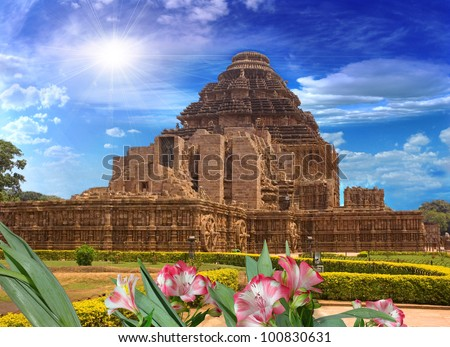 general plan for the temple of the sun, Konark, India; the view from the rear of the - stock photo